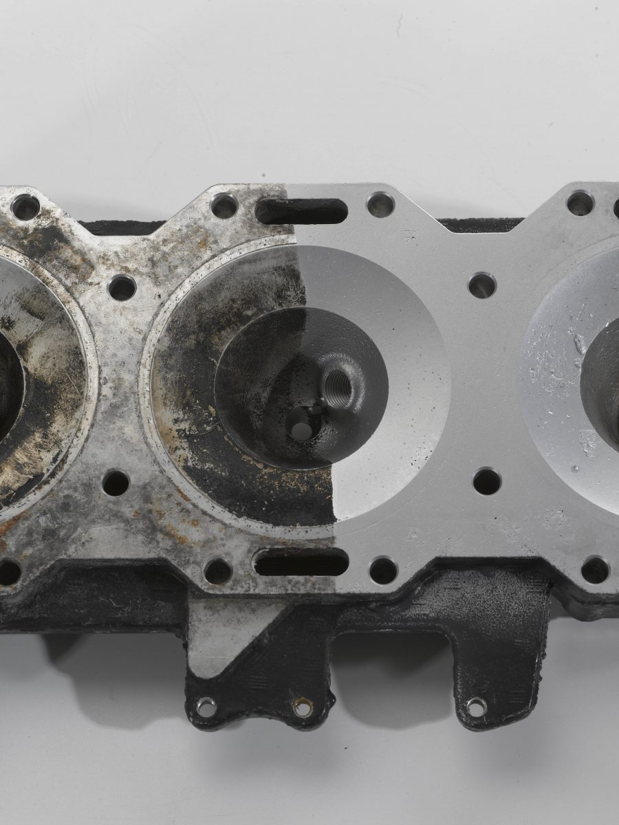 Automotive Cylinder Head Before and After Wet Blasting