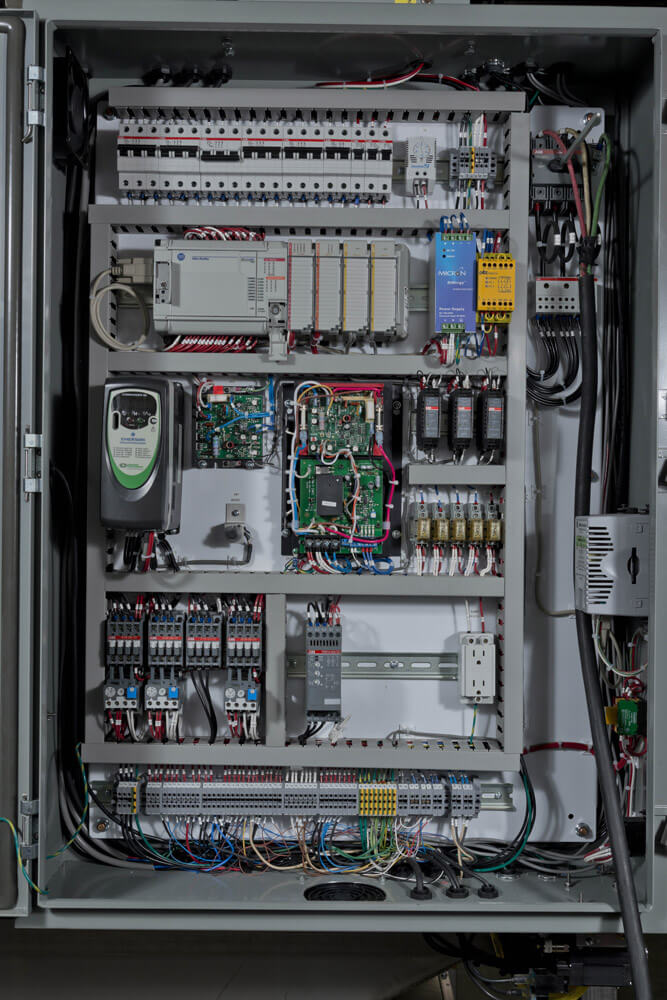 Electronics are easily accessible for maintenance and service