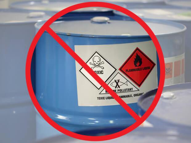 Wet Blasting eliminates caustic chemicals
