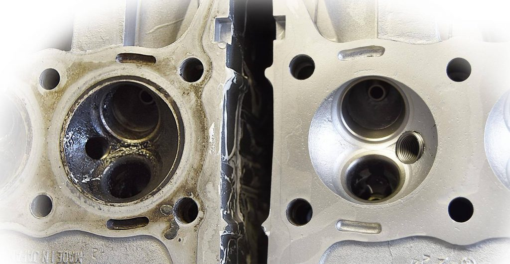 Motorcycle Head Before and After Wet Blasting