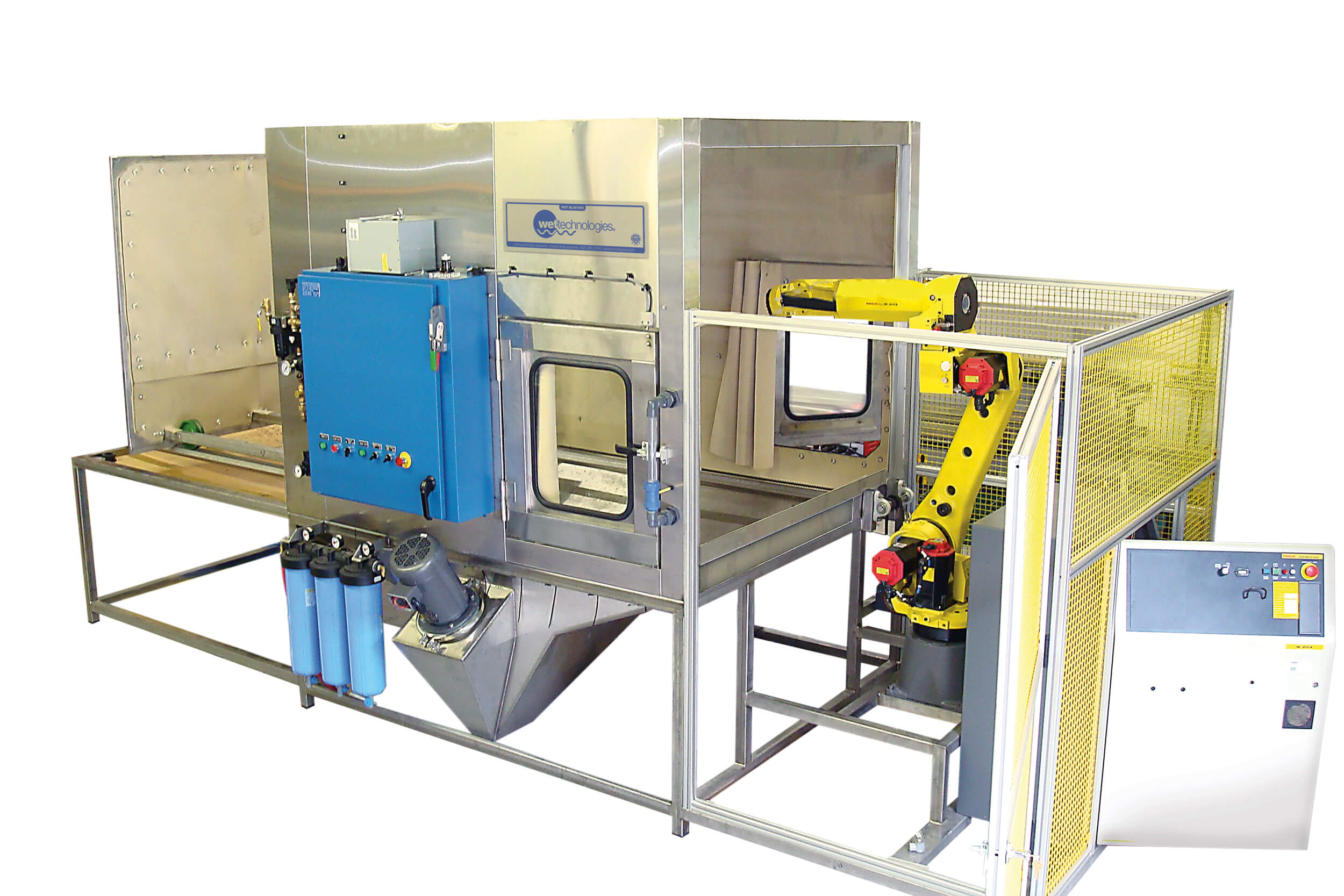 Robotic Wet Blast System with opposing windows to monitor process