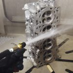 Deep Cleaning Engine Head in High Pressure Water Blast System