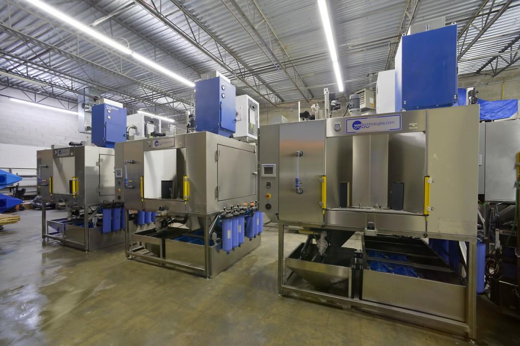 Three automated finishing wet blast systems