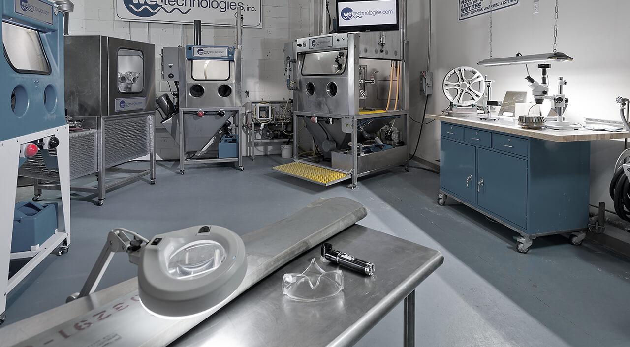 In-house wet blast test lab